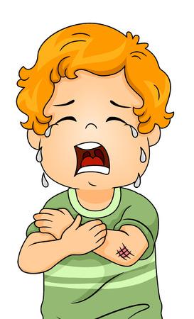 彼の腕に巻かれた研磨のため大声で泣いている男の子のイラスト