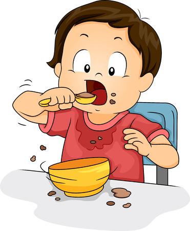 r boy: Ilustración de un muchacho joven que hace un lío mientras que come su comida