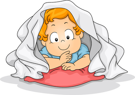 Illustration of a Young Boy Crouched Inside a Blanket illustration