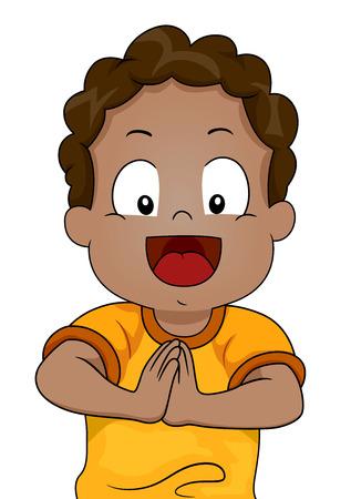 Illustration d'un jeune garçon afro-américaine avec les mains jointes Demander Banque d'images - 24226681
