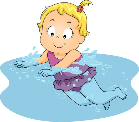 Illustration of a Young Girl Happily Swimming in Water illustration