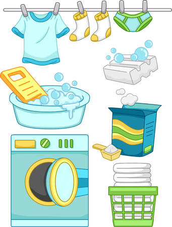 laundry detergent: Illustration Featuring Ready to Print Laundry-Related Elements