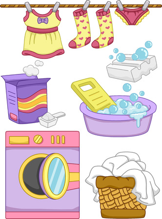 basin: Illustration Featuring Ready to Print Laundry-Related Elements