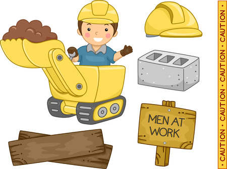 Illustration of Ready to Print Construction-Related Elements illustration