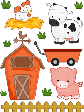 Illustration of Ready to Print Farm-Related Elements Stock Photo