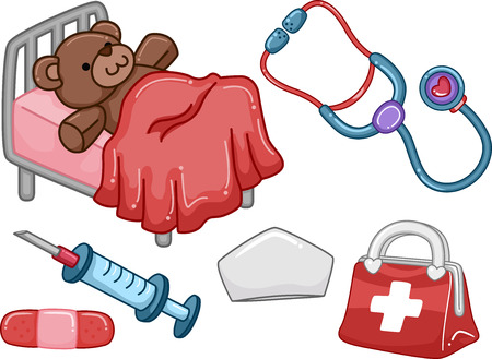stethoscope icon: Illustration of Ready to Print Elements with a Medical Theme Stock Photo