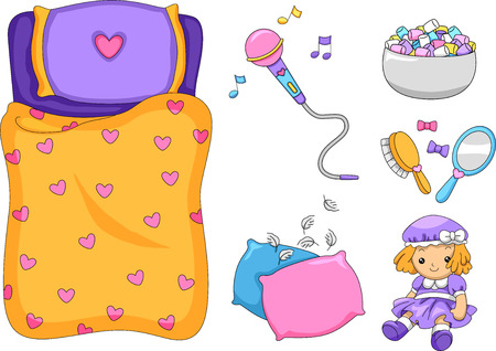 sleepover: Illustration of Ready to Print Slumber Party-Related Elements Stock Photo
