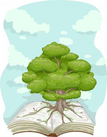 arbol raices: Ilustración de un árbol de pie en el medio de un libro gigante
