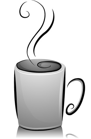 brim: Black and White Illustration of a Coffee Cup Filled with Hot Coffee to the Brim