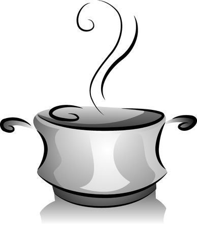 broth: Black and White Illustration of a Pot Filled with Steaming Broth Stock Photo