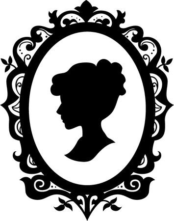 jewelry design: Black and White Illustration of a Cameo Featuring the Silhouette of a Woman