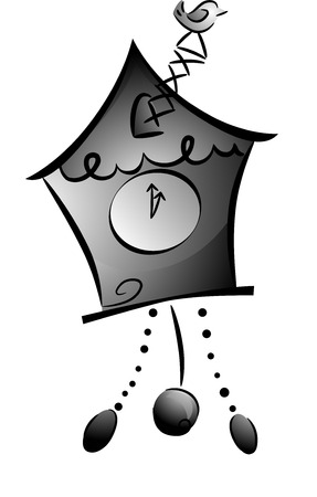 cuckoo clock: Black and White Illustration of a Cuckoo Clock with the Bird Sticking Out Stock Photo