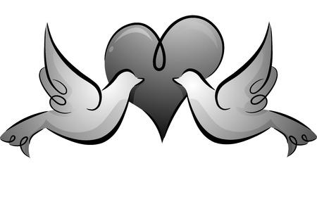 paloma caricatura: Blanco y Negro Ilustración de un par de palomas que se hacen frente contra un fondo en forma de corazón