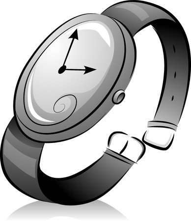 wristwatch: Black and White Illustration of a Wristwatch with a Simple Design