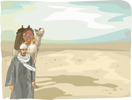 parched: Illustration Featuring a Man Leading a Camel in the Desert