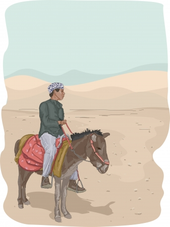 parched: Illustration Featuring a Man Riding a Donkey in the Desert