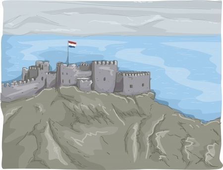 citadel: Illustration Featuring a Panoramic View of the Castle of Saladin in Egypt