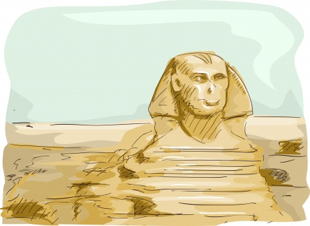 Illustration Featuring the Great Sphinx of Giza Located in Egypt Stock Illustration - 24226775