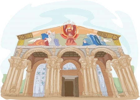 Illustration Featuring the Church of All Nations in Israel Stock Illustration - 24226777