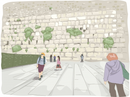 western wall: Illustration Featuring Tourists Roaming Around the Wailing Wall in Israel
