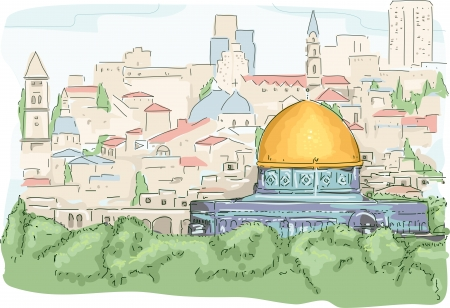 holy place: Illustration Featuring a Panoramic View of the Dome of the Rock in Jerusalem