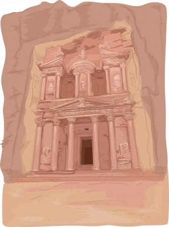 petra: Illustration Featuring the Al Khazneh Temple in Petra, Jordan