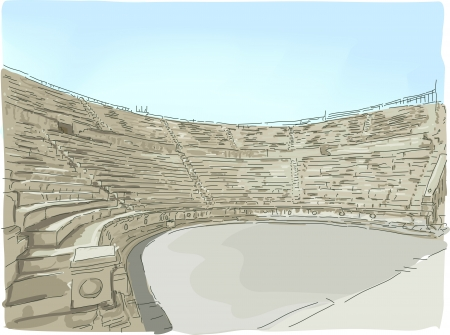 Illustration Featuring a Panoramic View of the Jerash Ampitheater in Jordan Stock Illustration - 24226781