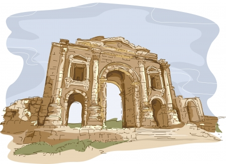 Illustration Featuring One of the Gates of the City of Jerash in Jordan Stock Illustration - 24226782