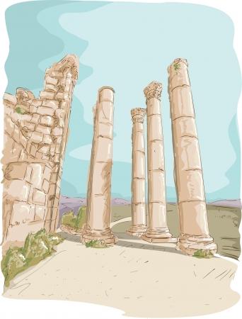 Illustration Featuring the Jerash Pillar Ruins in Jordan Stock Illustration - 24226783