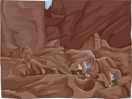 holy place: Illustration Featuring a Family Climbing the Ruins of the City of Petra in Jordan Stock Photo