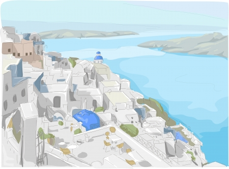 Illustration Featuring a View of Santorini Island in Greece
