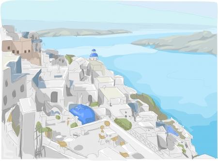 caldera: Illustration Featuring a View of Santorini Island in Greece