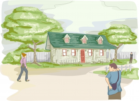 homely: Watercolor Illustration of a Bungalow with Some People Walking by in the Background