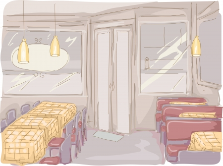 canteen: Watercolor Illustration of an Empty Diner
