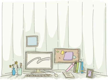 Watercolor Illustration Featuring the Workstation of a Home-based Worker Stock Illustration - 24226812