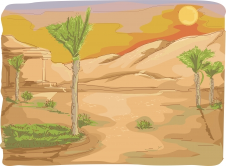 Watercolor Illustration of Palm Trees with a Long Stretch of Desert Sand in the Background Stock Illustration - 24226813
