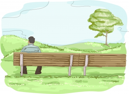 Illustration of a Man Enjoying Some Solitary Time While Sitting on a Park Bench Stock Illustration - 24226814