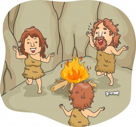 hombre prehistorico: Ilustración de un baile de hombre de las cavernas de la familia alrededor de una hoguera Foto de archivo
