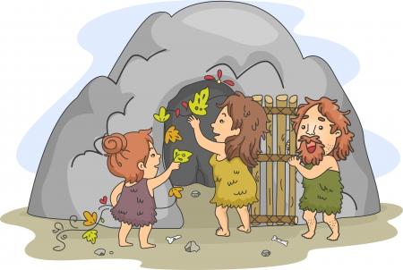 edad de piedra: Ilustración de una familia Caveman Decorando la cueva que sirve como su hogar