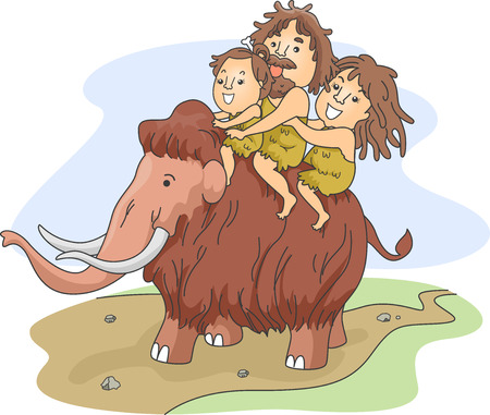 Illustration of a Caveman Family Riding a Wooly Mammoth illustration