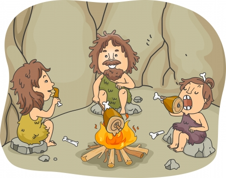 prehistoric: Illustration of a Caveman Family Eating Chunks of Meat Together in Front of a Bonfire