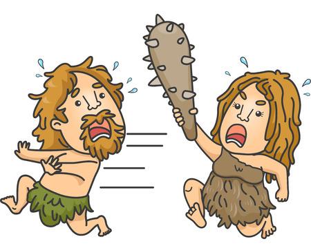 edad de piedra: Ilustración de un hombre de las cavernas Mujer Blandiendo un club durante la persecución de un hombre de las cavernas Hombre Foto de archivo