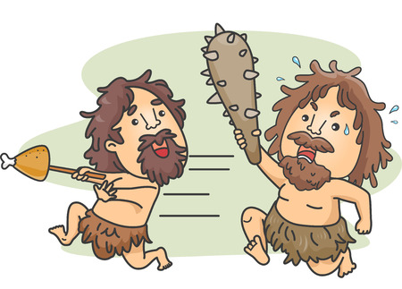 robo: Ilustración de un hombre de las cavernas Hombre Llevar un club persiguiendo a otro hombre de las cavernas que robó su comida
