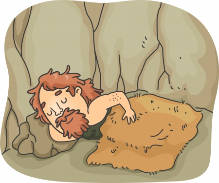 prehistoric man: Illustration of a Caveman Soundly Sleeping Under a Wooly Blanket