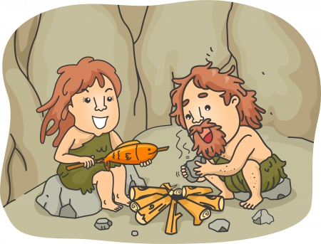 prehistoric: Illustration of a Caveman Couple Trying to Cook Their Food by Starting a Fire with Two Pieces of Stones  Stock Photo