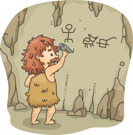 cave: Illustration of a Caveman Etching Figures on the Walls of a Cave Using a Piece of Stone