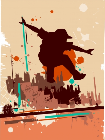 Illustration Featuring the Silhouette of a Parkour Practitioner Against a Grunge Themed Background Stock Illustration - 24226825