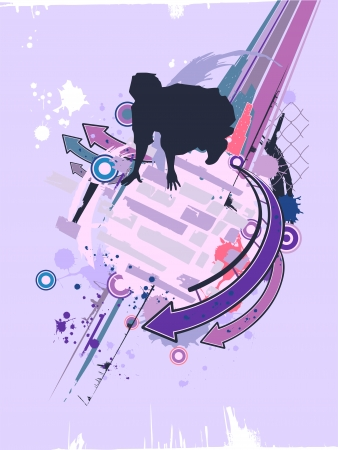 Illustration Featuring the Silhouette of a Parkour Practitioner Against a Grunge Themed Background Stock Illustration - 24226826