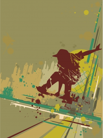 skateboard boy: Illustration Featuring the Silhouette of a Skateboarder Against a Grunge Themed Background Stock Photo