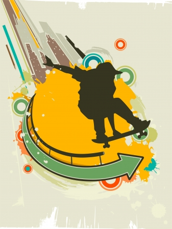 Illustration Featuring the Silhouette of a Skateboarder Against a Grunge Themed Background Stock Illustration - 24226829